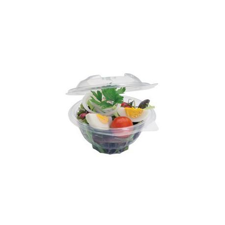 Bols à salade ronds PET avec couvercles attenants